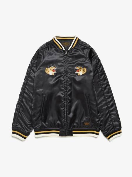 PRE-LOVED Neighborhood Contrast Trimming Tiger Embroidery Sankujan Bomber Jacket - black/brown
