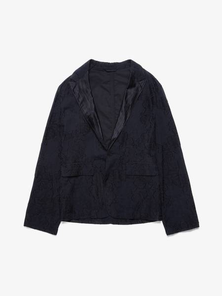 [Pre-Loved] Ann Demeulemeester Male Black Floral Embossed Cotton and Viscose Blazer Jacket