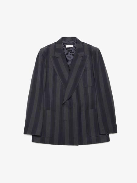 [Pre - Loved] Dries Van Noten Striped Double Breasted Wool Blazer Jacket - Navy/Gray