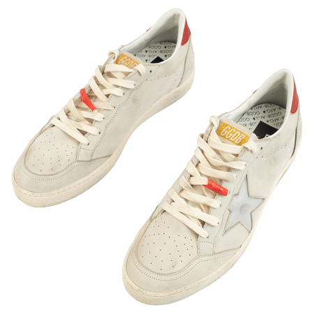 Golden Goose Ballstar Distressed Leather Sneakers - Gray