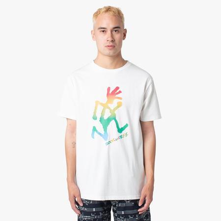 Book Works x Gramicci Running Man Rainbow T-shirt - White
