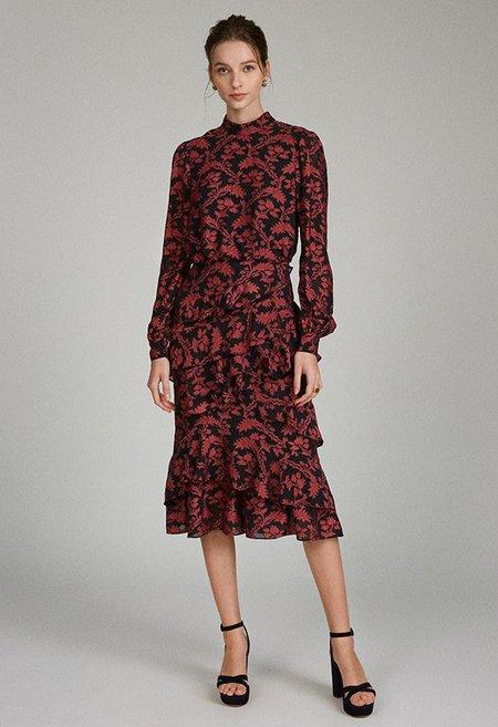 Saloni Isa Ruffle Dress - Black Rouge