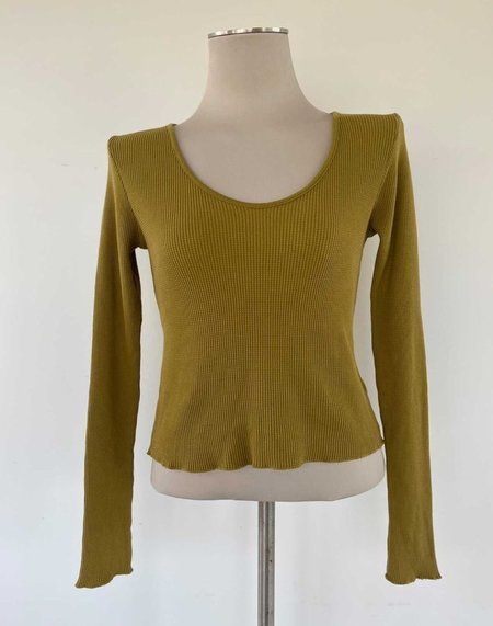 Back Beat Co. Organic Cotton Waffle Scoop Neck Tee - Willow