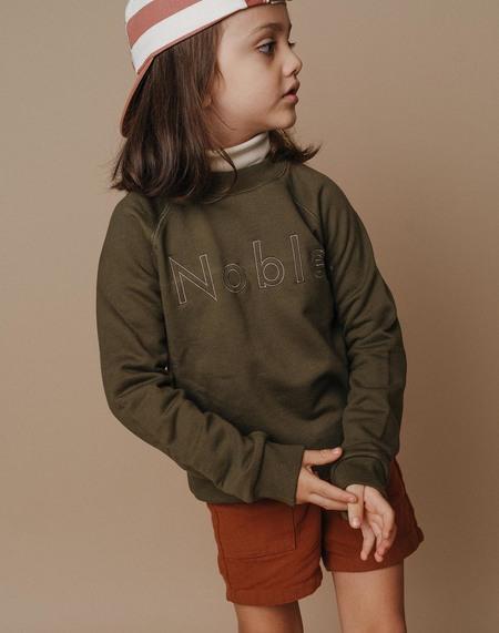 Kids Noble Embroidered Sweatshirt - Olive