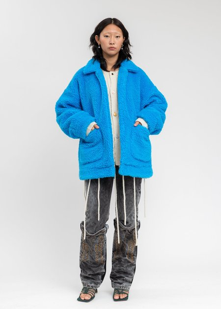 Doublet Hand-Painted Recycle Fur Jacket - Blue