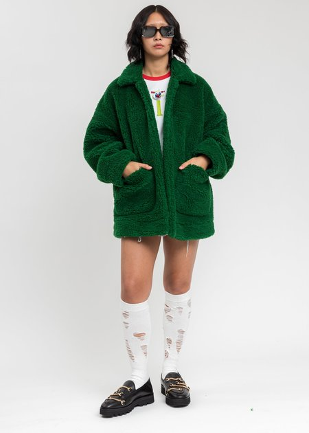 Doublet Hand-Painted Recycle Fur Jacket - Green