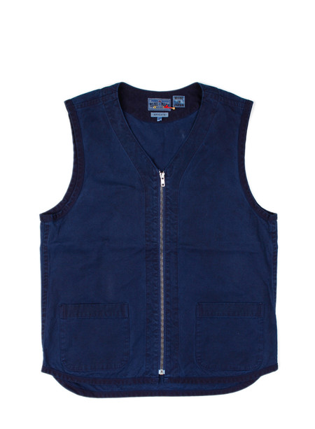Blue Blue Japan Indigo Hand Dyed Light Cotton Duck Zip Vest