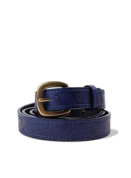 Blue Blue Japan Indigo Leather Paisley Embossed Belt