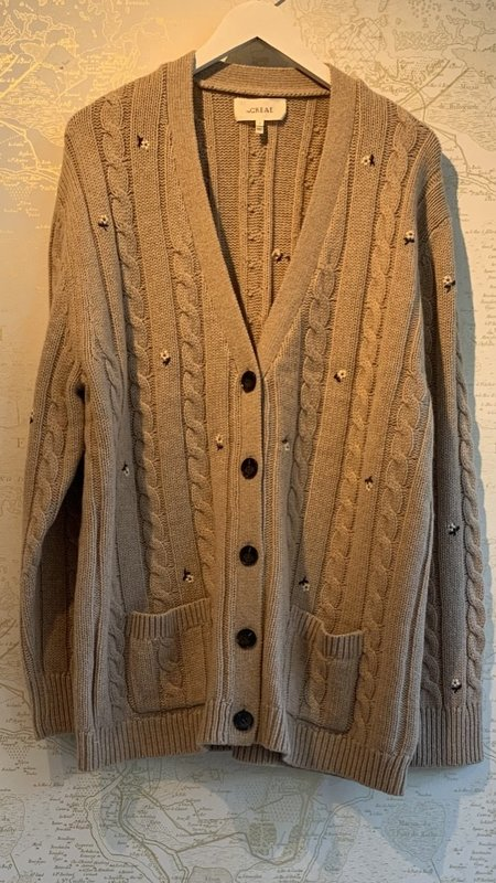 The Great. Embroidered Cable Cardigan - Beige