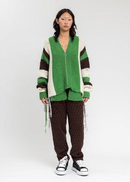 Doublet Zip Up Stripe Cardigan - Green