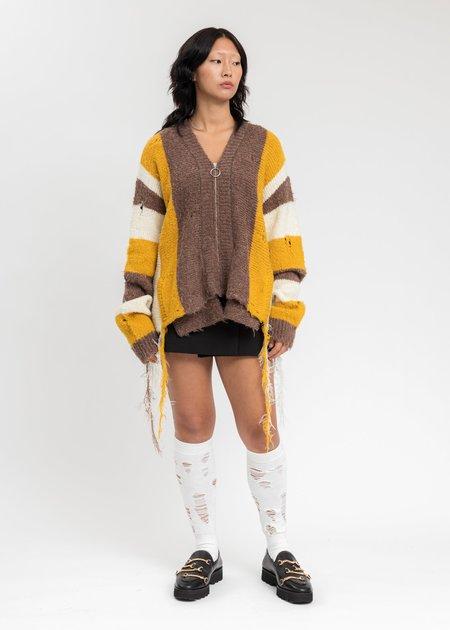 Doublet Zip Up Stripe Cardigan - Yellow