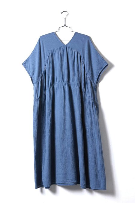 Atelier Delphine Lihue Wrinkled Cotton Dress - Steel Blue