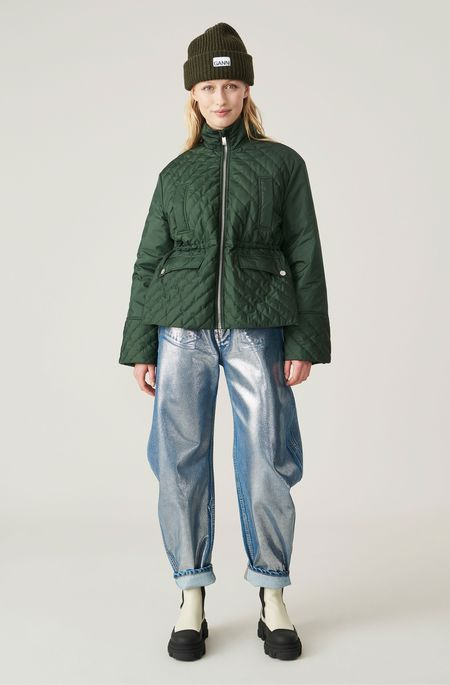 Ganni Quilted Recycled Polyester Jacket - Dark Green