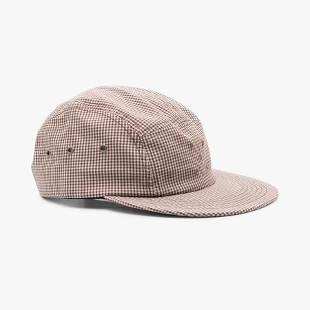 Pop Trading Company Logo 5 Panel Hat - Brown/White Gingham