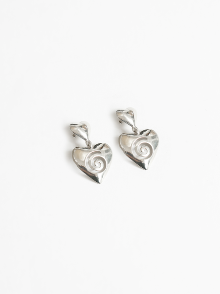 Wolf Circus Heart Swirl Statement Earrings - Silver
