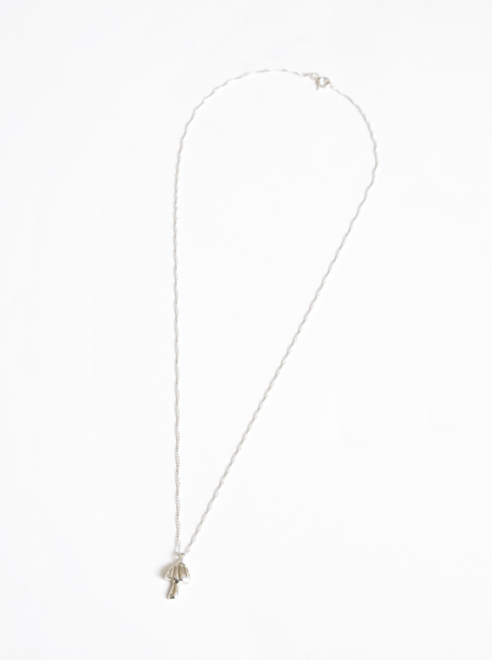 Wolf Circus Mushroom Charm Necklace - Silver