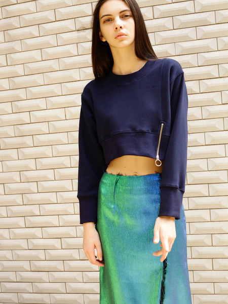 OUOR Monday Cropped Sweatshirt - Navy