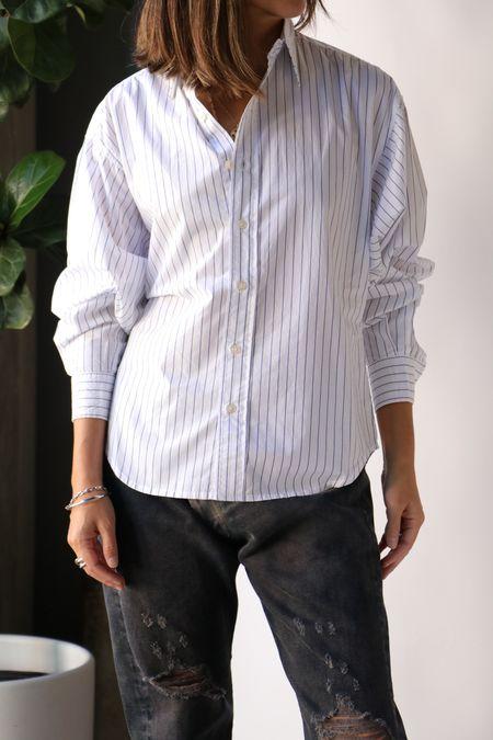 R13 Dolman Sleeve Shirt - Royal Blue Wide Pinstripe