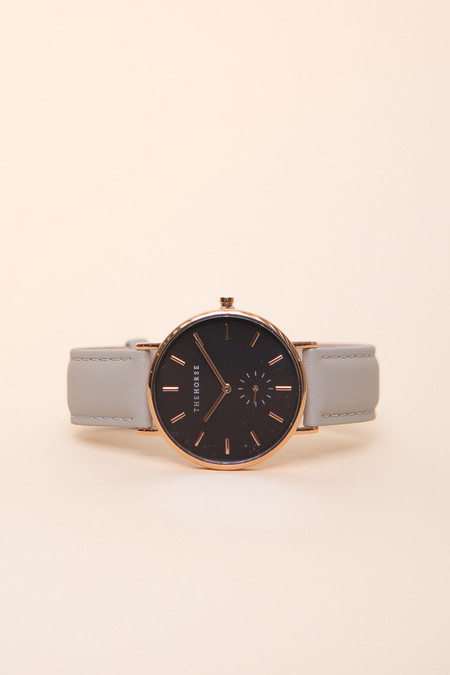 The Horse Classic Leather Watch / Rose Gold, Black Face, Grey Leather
