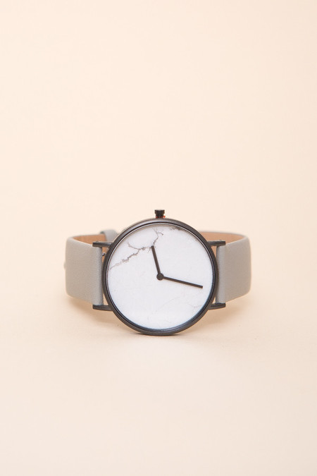 The Horse The Stone Watch / White Stone, Grey Leather