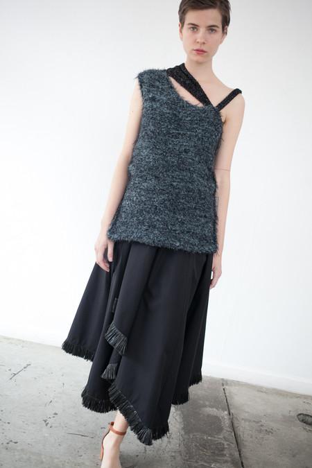 Yulia Kondranina Textured Knit Asymmetrical Top in Black/Green