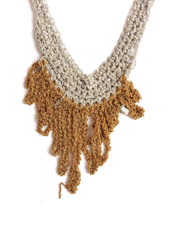 Arielle De Pinto Small Fringe Necklace in Silver + Gold