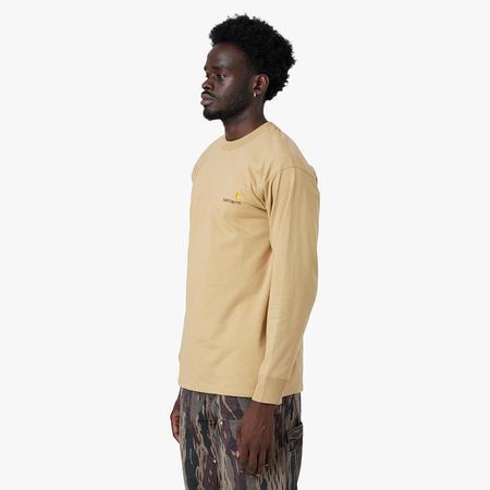 Carhartt WIP American Script Long Sleeve T-shirt - Dusty H Brown