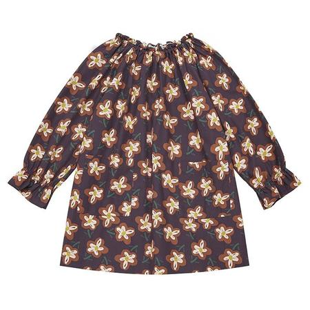 Kids Bonton Child Dahlia Dress - Painted Flower Print Brown
