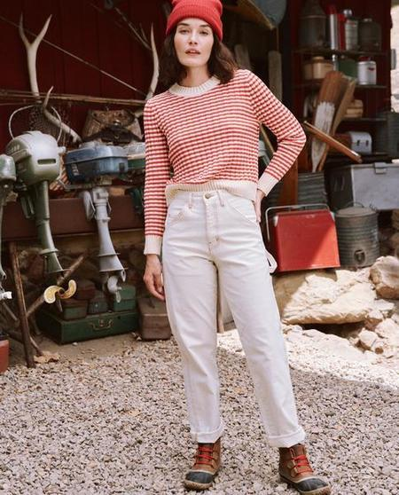 The Great The Mini Striped Shrunken Pullover - Scarlet Stripe