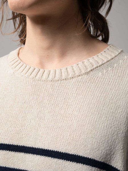 Nudie Jeans Hampus Recycled Stripe Sweater - Off White/Navy