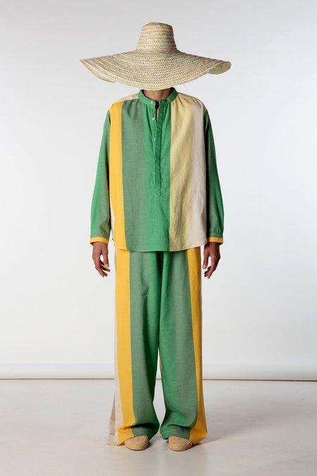 marrakeshi life nero collar henley shirt - yellow/green stripes