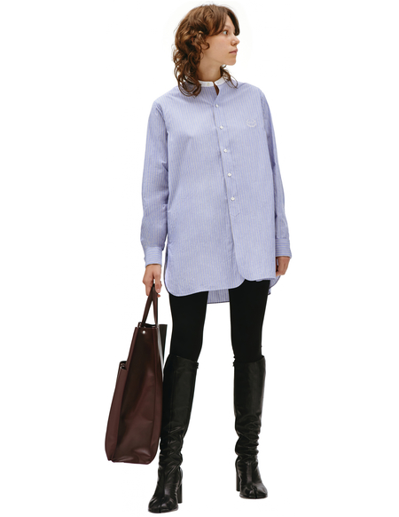 Maison Margiela striped embroireded shirt - Blue
