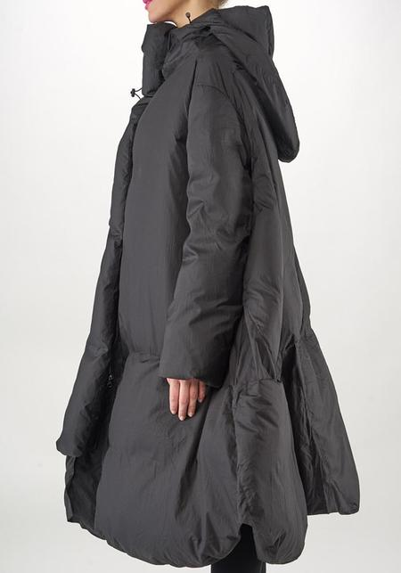 Rundholz Asymmetric A-Line Oversized Hooded Down Filled Transformable Puffer Coat - Black