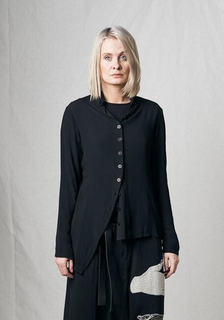 Unisex Pal Offner Asymmetric Semi Sheer Tip Shirt - Black