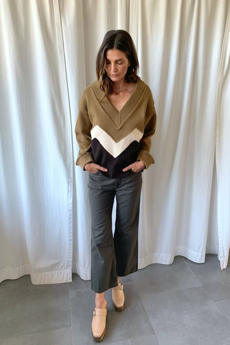 Rejina Pyo Ingrid Sweater - White/brown zigzag striped