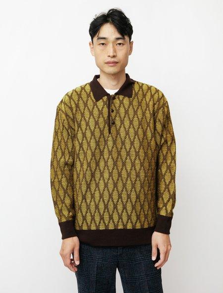Needles Polo Wave Stripe Sweater - Yellow/Brown