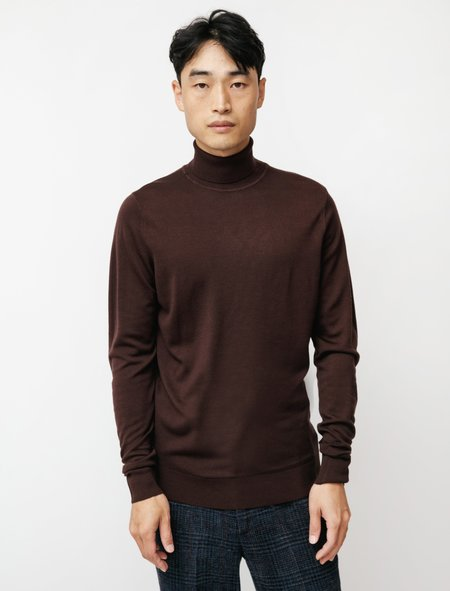 Sunspel Roll Neck Sweater - Espresso