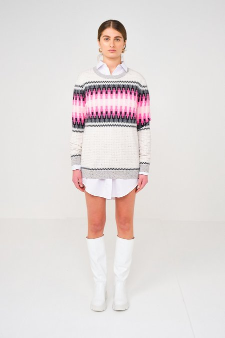Brodie Electric Fairisle Jumper Top - Forest Charcoal/Neon Pink