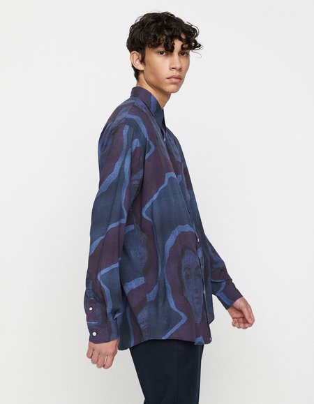 Schnayderman's Non-Binary Lady Print Shirt - Dark Blue