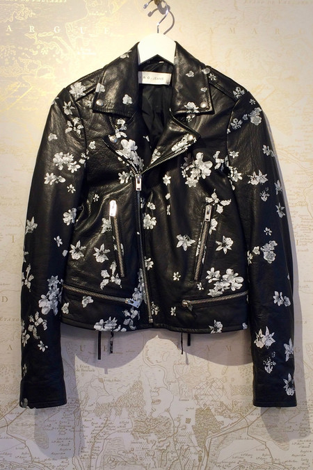 IRO Painted 'Phedra' Leather Jacket with Tie Cross Sides