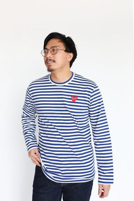 Comme des Garçons Red Heart Striped Long Sleeve - Navy/White