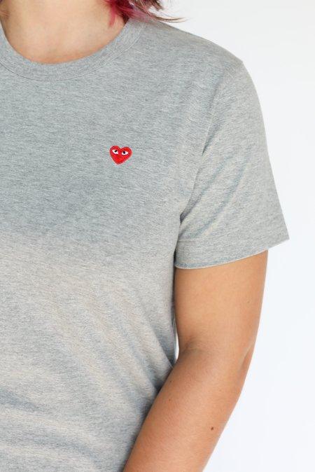Comme des Garçons Small Red Heart Patch T-Shirt - Grey