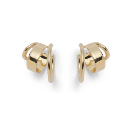 Lady Grey Triad Hoop Earrings - Brass