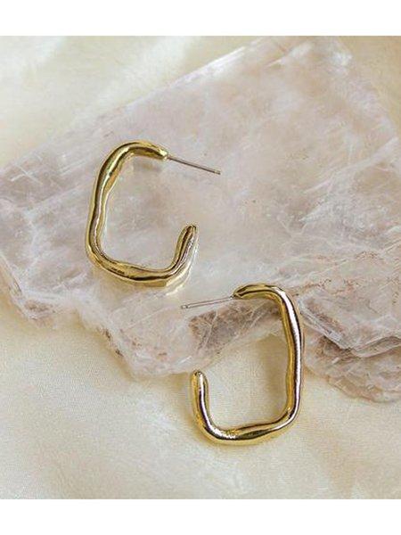 Dea Dia Rectangle Hoops - Brass/Silver