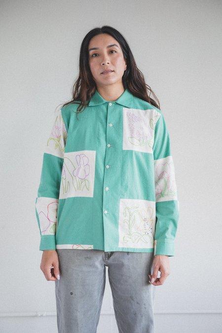 Bode Botanical Patchwork Long Sleeve Shirt - Green