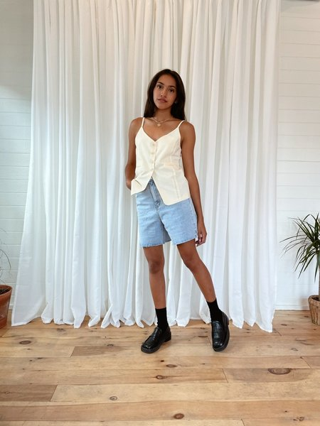 Uncover Soft linen strap vest - natural