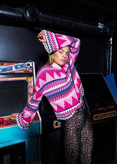 Cras Millo Knit Sweater - Hot Pink Print