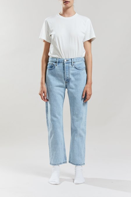 Still Here New York Open Red Tate Crop Jeans - Vintage Blue