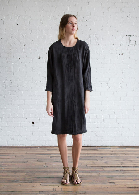 Raquel Allegra Boxy Day Dress Black