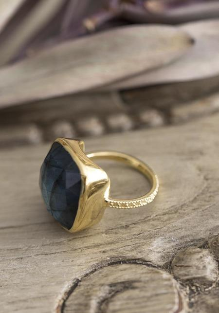 Lulu Designs Gold Vermeil and Emerald Monterey Ring - Gold